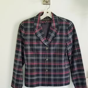 Kasper silk plaid blazer black burgundy size 8